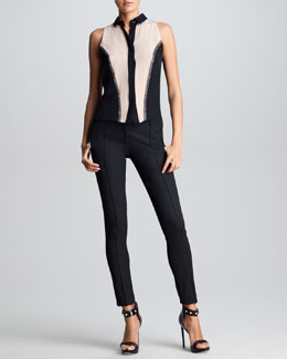 Jason Wu Sleeveless Colorblock Silk Blouse & Classic Stovepipe Pants