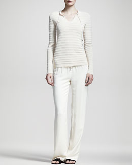 THE ROW Drawstring Ribbed Top & Pajama Pants