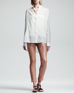 THE ROW Voile Blouse, Stretch-Georgette Camisole & Shiny Stretch-Leather Leggings