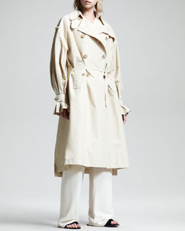 THE ROW Stretch-Cotton Trenchcoat, Stretch-Georgette Camisole & Drawstring Pajama Pants