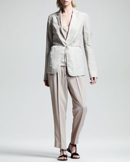 THE ROW Tie-Belt Organza Blazer, Linen-Silk Camisole & Pleated Suit Pants
