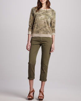 Current/Elliott The Letterman Camouflage Knit Top & The Buddy Cropped Trousers