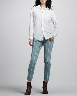 Current/Elliott The Prep School Shirt & The Low-Rise Stiletto Jeans