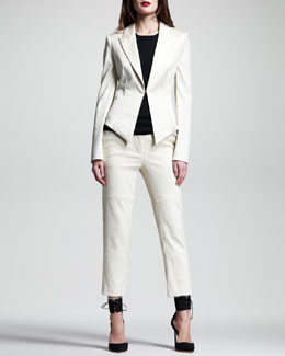 Wes Gordon Lace-Up Stretch-Cotton Blazer, Cotton-Cashmere Tank & Web-Lace Motorcycle Pants