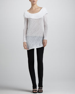 Donna Karan Shawl-Draped Knit Tunic & Slim Straight-Leg Pants
