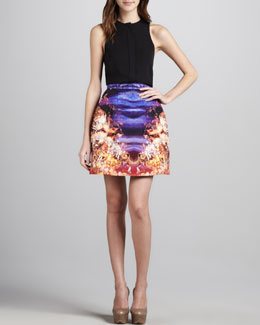 McQ Alexander McQueen Sleeveless Button-Front Top & Printed Skirt