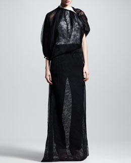 Givenchy Sheer Lace Gown, Open-Back Bodysuit & Stretch-Cady Tuxedo Pants