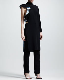 Givenchy Stretch-Cady Asymmetric Dress & Slim Tuxedo Pants