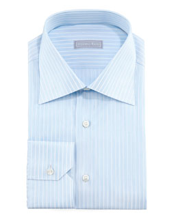 Stefano Ricci Micro-Dash Striped Dress Shirt & Paisley Silk Tie