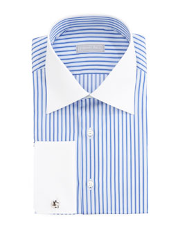 Stefano Ricci Striped Contrast-Collar Dress Shirt & Mini-Flowers Tie