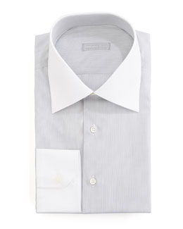 Stefano Ricci Micro-Stripe Dress Shirt & Paisley Tie, Gray