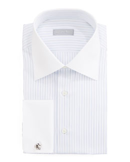 Stefano Ricci Contrast-Collar Striped Dress Shirt & Paisley Silk Tie