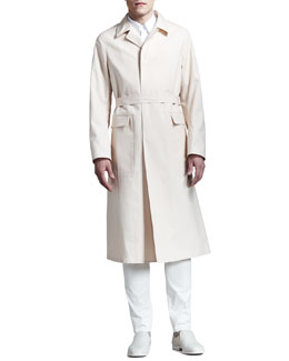 Jil Sander Long Single-Breasted Trenchcoat, Covered-Placket Shirt & Slim Cotton Pants