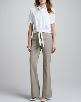 Theory Ebele Tie-Hem Blouse & Juliena Tailored Pants