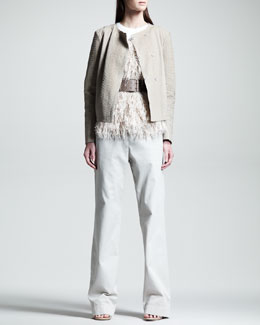 Brunello Cucinelli Snake-Embossed Motorcycle Jacket, Fringed Sleeveless Top, Wet-Effect Wide Belt & Garment-Dyed Wide-Leg Pants
