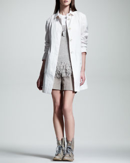 Brunello Cucinelli Organza Trenchcoat, Dog-Tag Necklace, Fringe-Hem Knit Tank & Foldover Gabardine Shorts
