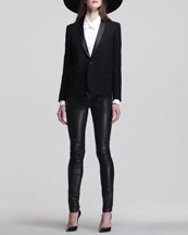 Saint Laurent Large Wool Fedora, Shawl-Collar Jacket, Silk Pintucked Blouse & Skinny Leather Pants