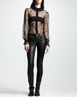 Saint Laurent Long-Sleeve Lace Top & Skinny Leather Pants