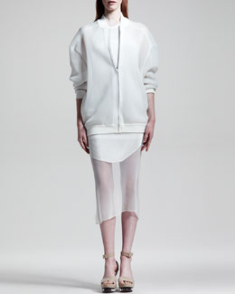 Stella McCartney Sheer Sweatshirt Jacket & Sleeveless Ribbed Dress