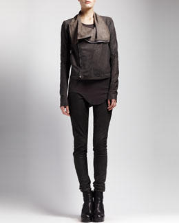Rick Owens Blistered Leather Jacket, Basic Ribbed Tank & Skinny Leather Leggings