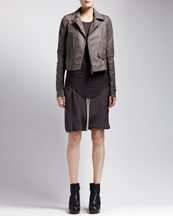 Rick Owens Leather Biker Jacket, Basic Ribbed Tank & Drawstring Skirt