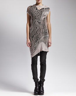 Rick Owens Long Crochet Tunic, Basic Ribbed Tank & Stretch-Leather Leggings