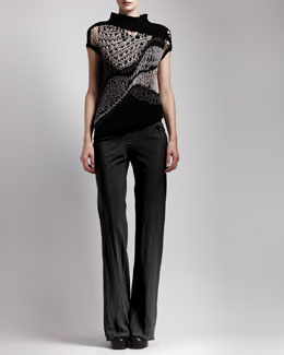 Rick Owens Asymmetric Crochet Top, Basic Ribbed Tank & Bias-Cut Crepe Pants