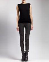 Rick Owens Shred-Back Sleeveless Sweater & Stretch-Leather Leggings