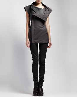 Rick Owens Sleeveless Asymmetric Jacket & Skinny Leather Leggings