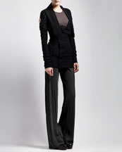 Rick Owens Studded Biker Jacket, Basic Ribbed Tank & Bias-Cut Crepe Pants