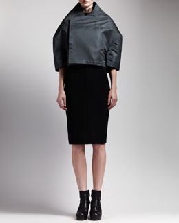 Rick Owens Boxy High-Collar Jacket & Sheer-Neck Back-Zip Dress
