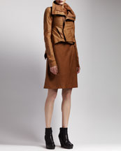 Rick Owens Leather Tail Jacket & Ruched Leather Dress