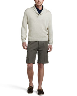 Loro Piana Linen Shawl-Collar Sweater, Dyed Pique Polo & Cotton-Linen Cargo Shorts