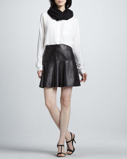 Vince Silk Batwing-Sleeve Blouse, Fringe Scarf & Flared Leather Skirt