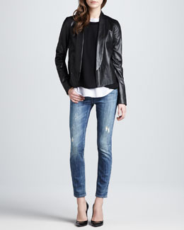 Vince Shawl Collar Leather Jacket, Oversized Sweater, Shirttail Tee & Distressed Skinny Jeans