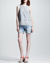 rag & bone/JEAN Elodie Seersucker Top & Tattered Boyfriend Shorts