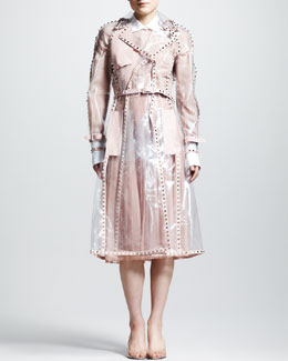Valentino Studded PVC Trenchcoat, Contrast-Collar Georgette Blouse & Pleated Chiffon Skirt