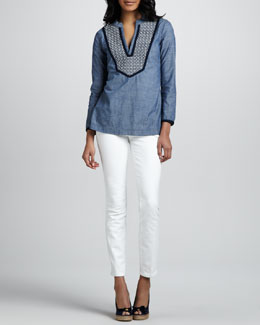 Tory Burch Embellished Chambray Tunic & Skinny Ankle Jeans