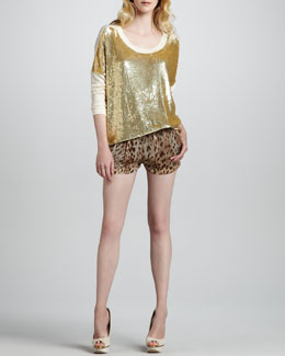 Haute Hippie Sequined Pullover and Leopard-Print Shorts