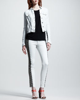rag & bone/JEAN Destroyed Jean Jacket, Cotton Tee & Split Skinny Embroidered Jeans