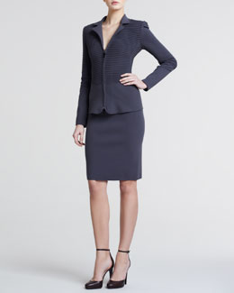 Giorgio Armani Ottoman Ribbed Zip-Front Jacket & Ottoman Pull-On Pencil Skirt