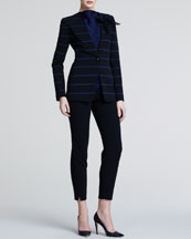 Giorgio Armani Striped Jersey Blazer, High-Neck Sleeveless Blouse & Slim Wool Crepe Trousers