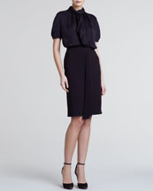 Giorgio Armani Silky Draped Short-Sleeve Blouse & Pleat-Front Straight Skirt