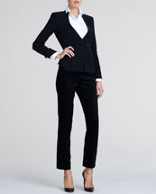 Giorgio Armani One-Button Wool Jacket, Stand-Collar Tuxedo Blouse & Slim Devore Velvet Trousers
