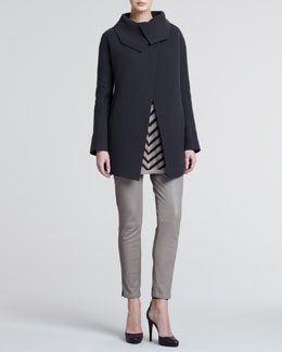 Giorgio Armani Raw-Cut Wool Coat, Chevron Striped Tunic Sweater & Leather Pants