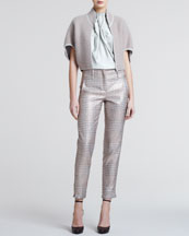 Giorgio Armani Mohair-Blend Bolero, Pleated-Front Silk Blouse & Metallic Plaid Slim Trousers