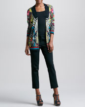 Etro Printed Open Cardigan & Front-Closure Slim Ankle Pants