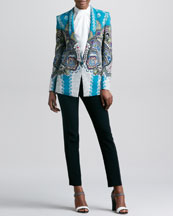 Etro Shawl-Collar Printed Jacket, Silk Sleeveless Knotted Blouse & Front Closure Slim Cady Pants