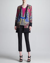 Etro Printed Jacket, Mixed-Print V-Neck Tee & Front-Closure Slim Ankle Pants