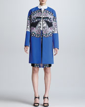 Etro Printed Snap-Front Topper, Sleeveless Knot-Detail Blouse & Colorblock Printed Pencil Skirt